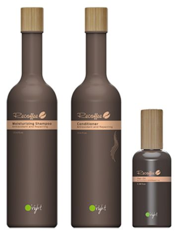 O'right Recoffee is a new haircare line featuring shampoo and conditioner products that are made with 100% recycled coffee grounds.  Coffee seeds are embedded in the bottom of the packaging, and when an empty bottle is buried in soil, the bottle decomposes and a coffee tree will sprout in one or two months.