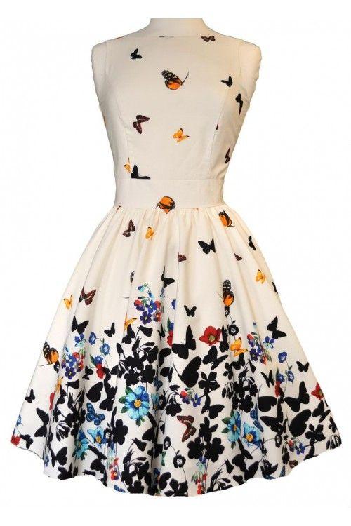 Lady Vintage 50s White Butterfly Tea Dress : Lady Vintage Jurken - Retro en Vintage kleding online