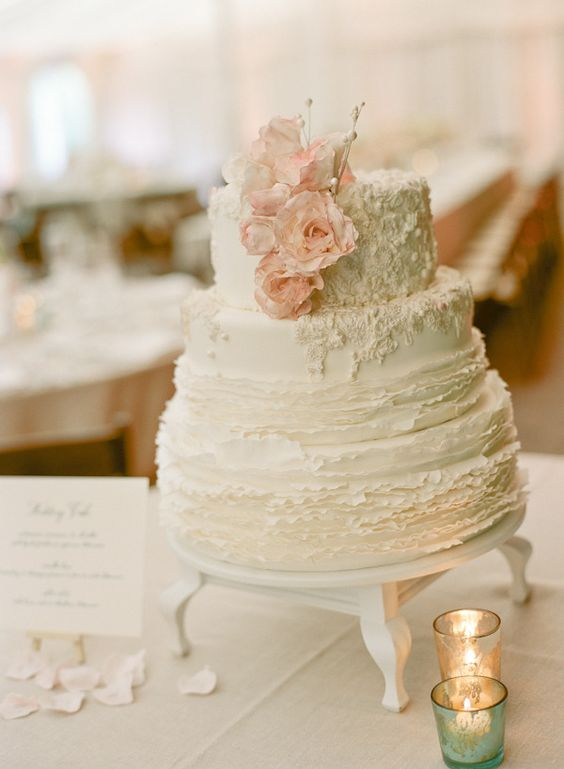 love the texture and soft pastel palette for this cake. understated elegance!  #wedding: Pretty Cake, Beautiful Cake, Wedding Cake, Cake Stand, Weddingcake, Simple Cake, Gorgeous Cake