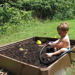 Muddy play! Mud castles, mud bricks, tunnels through mud for toy cars.... yep, brilliant idea :0)