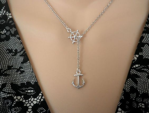 Anchor necklace, Nautical, Ship wheel, Ocean, Silver necklace, Lariat necklace, Gift, friend, bridal, wedding jewelry