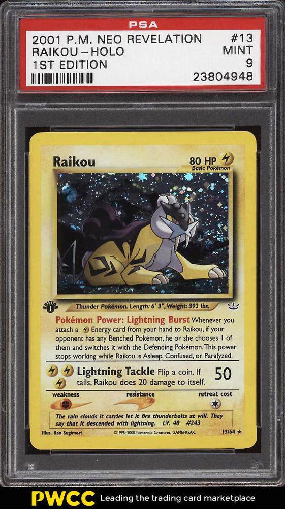 2001 Pokemon Neo Revelation 1st Edition Holo Raikou 13 Psa 9 Mint