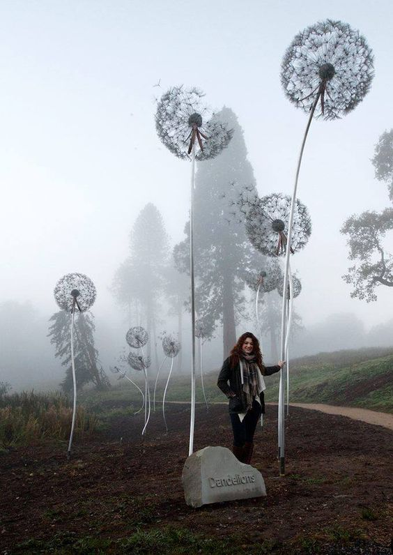 Giant Dandelion Sculpture Installation at Trentham Estate by Amy Wight: