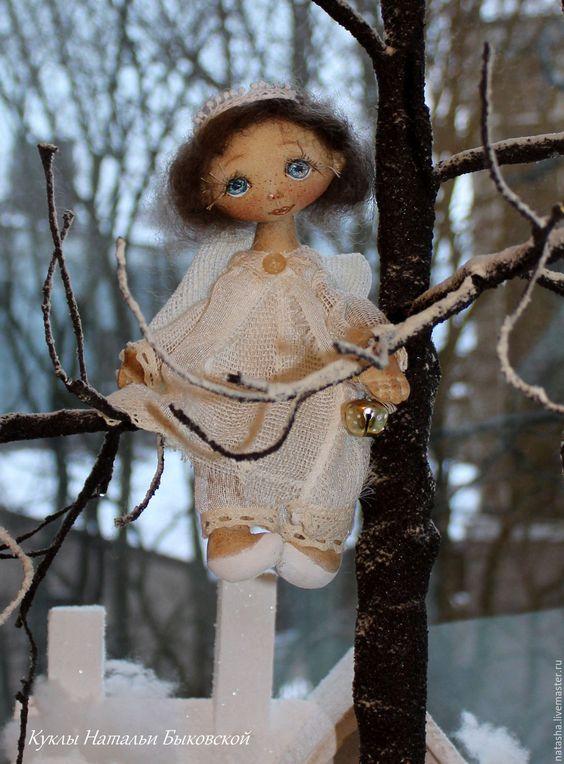 Купить Однажды зимним вечером... - белый, ангел, ангелочек, текстильный ангел, ангел-хранитель, хлопок