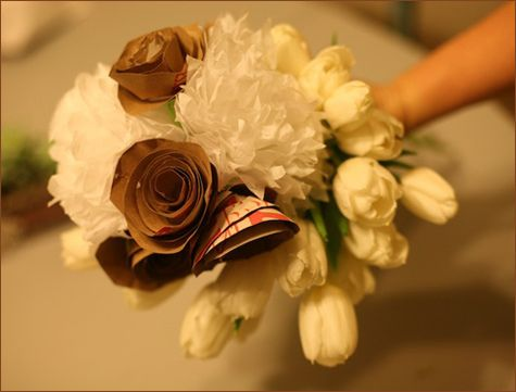 lovely diy bouqet, yes its made of paper/fake flowers