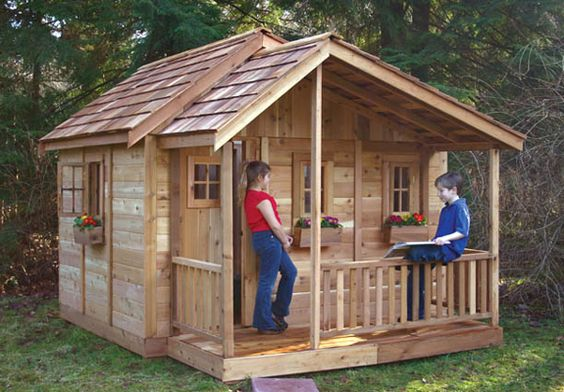 Wooden playhouse wood playhouse and playhouse kits on for Playhouse with porch plans