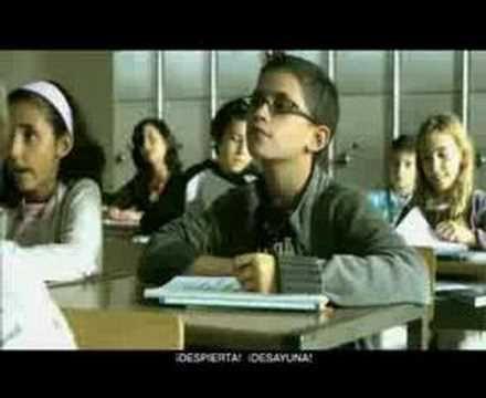 commercial for teaching mandatos...with fill ins. :)  ¡Despierta!  ¡Desayuna!  Por la 1.____, ¡ponte las pilas!  ¡Despierta!  ¡2.____!  ¡Cómete el mundo!  ¡Muévete!  ¡Despierta!  ¡Desayuna!  ¡Come 3.____!  ¡Y muévete!  Gobierno de 4.____.