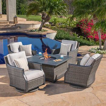 Lago Brisa 5 Piece Fire Chat Set 3000 Patio Furniture Fire Fire Pit Sets Fire Pit Table Set Patio furniture with fire table