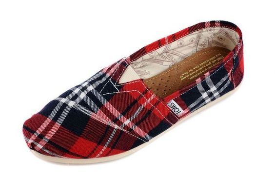New Arrival Toms women shoes Red grid