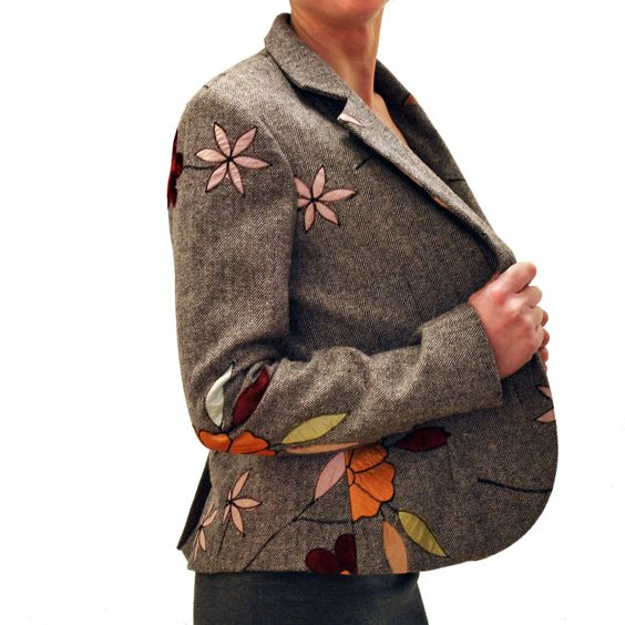 Giacca floreale donna / Grey blazer with floral decorations