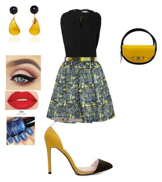 """""""Black and Yellow"""" by akadiamondkut15 on Polyvore featuring Valentino, MSGM, Chanel and Smashbox"""