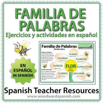 spanish in spanish and more spanish word families words in spanish ...