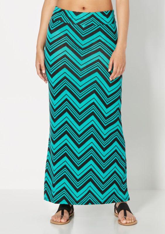 Mixed Chevron Teal Maxi Skirt | Maxi | rue21