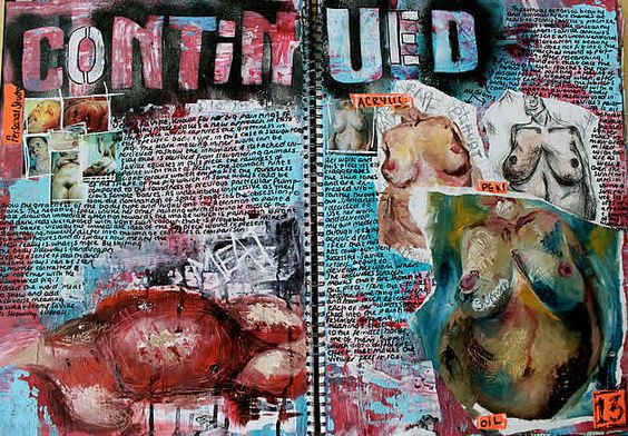 Every speck of the page has been considered and worked over, using colours that integrate and link with the Jenny Saville artworks analysed. The whole page thus becomes an opportunity to absorb information from an artist; imbued with technique, emotion and style.