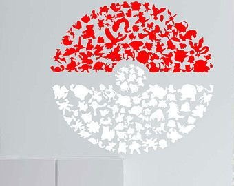 Pokeball Decals, Pokemon silhouette that made up a pokeball look sticker for wall decals, Children decal, kid sticker