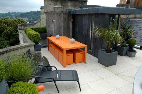 Dach Garten-Design Ideen-Möbel Metall