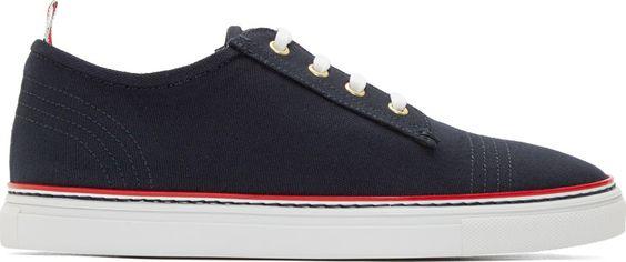 Thom Browne Navy Canvas Sneakers