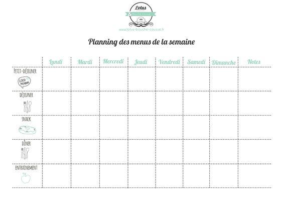 Téléchargez votre planning pour menus et repas.