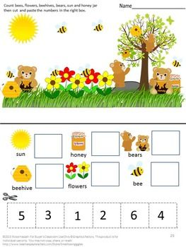 bears cut and paste no prep math literacy printables for kindergarten cut and paste shape. Black Bedroom Furniture Sets. Home Design Ideas