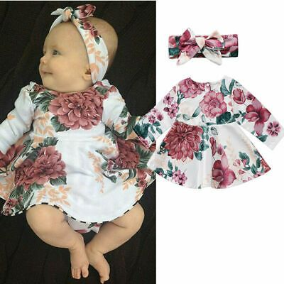 Newborn Infant Baby Girls Ruffle Sleeve Floral Dress Outfits Clothes Dress