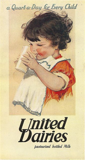 """""""A quart a day for every child"""" - window bill by Muriel Dawson for United Dairies milk, 1935.:"""