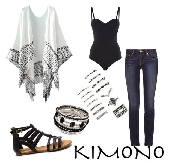 """Kimono"" by mariafernandaperezferret ❤ liked on Polyvore featuring Tory Burch, Wolford, Forever 21 and kimonos"