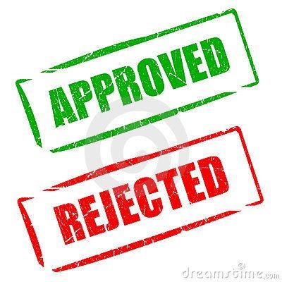 Sello aprobado en verde y rechazado en rojo. Approved, rejected.