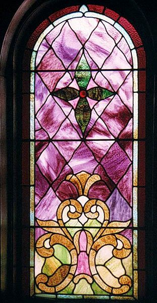 Fleur de lis located at bottom in this non-pictorial window.  Central United Methodist Church, Sault Sainte Marie, MI