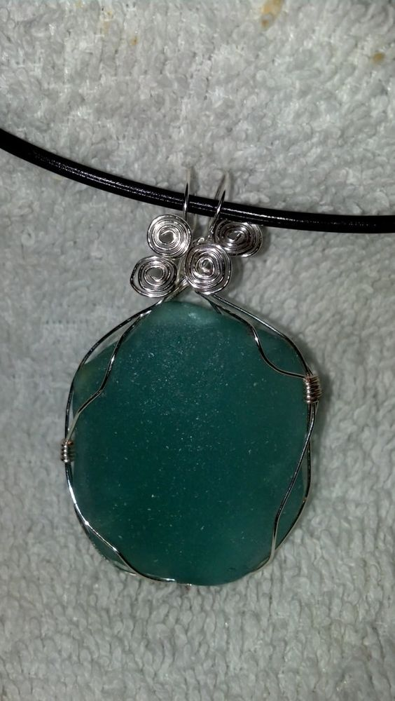 Silver Wire Wrapped Authentic Sea Glass by SeaGlassInspiration, $30.00