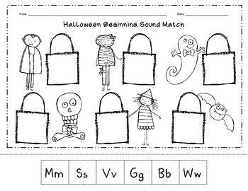 Halloween Beginning Sound Match Cut & Paste Worksheet   A Class ...