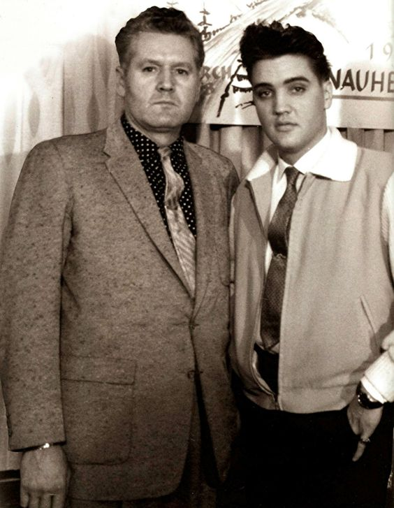 "Elvis and his father Vernon in march 27 1959 in Germany. Elvis celebrated the halfway mark of his army stint with an ""Over the Hump"" party."