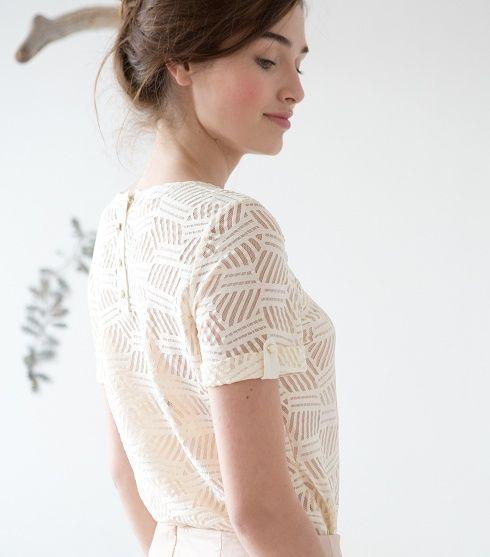 white lace shirt.