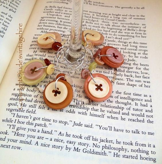 Rustic - Vintage style button cluster  wine glass charms - set of 6 £4.95