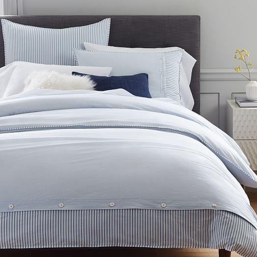 Organic Washed Cotton Stripe Duvet Cover Shams Kyoto Blue Bed Linens Luxury Bed Linen Design Blue Duvet Cover