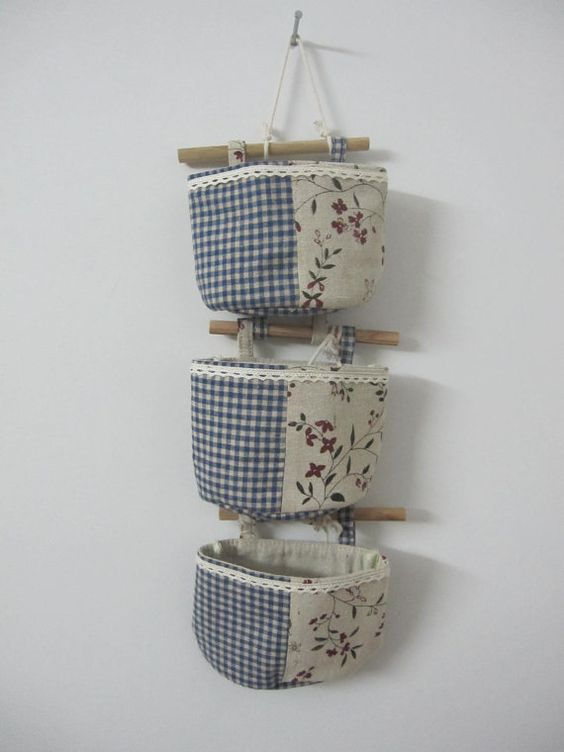 small flower 3 pcs Eco wall jute Storage bag / by Lostpigeon, $18.50 Could be good for onions and potatoes