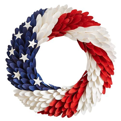 "18"" Patriotic Wood Curl Wreath"