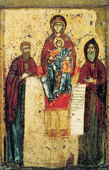 The Virgin of Sven with Sts. Anthony and Theodosius Pechersky, Kiev, circa 1288