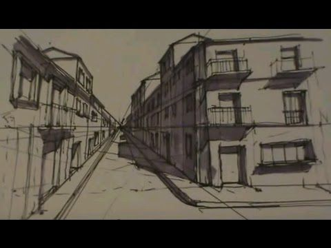 Calle En Perspectiva Conica Frontal Con Calculo De Sombras Youtube Perspectiva Dibujos Naturales Calle