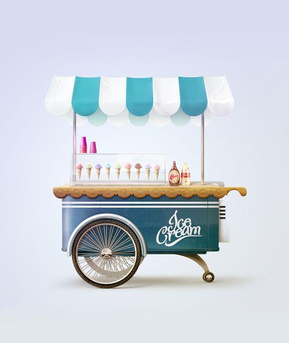 Ice Cream Cart illustration by Tibor Tovt, via Behance