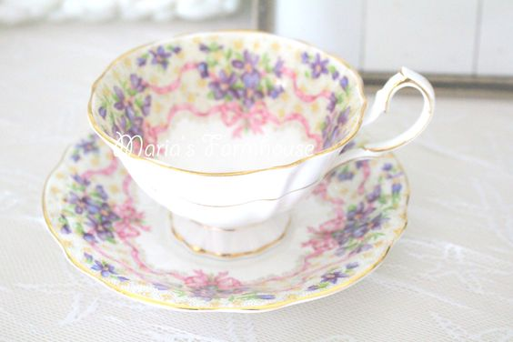 Vintage, English Fine Bone China, Tea Cup and Saucer Duo by Queen Anne, Sweet Violets Pattern, Gifts for Her by MariasFarmhouse on Etsy