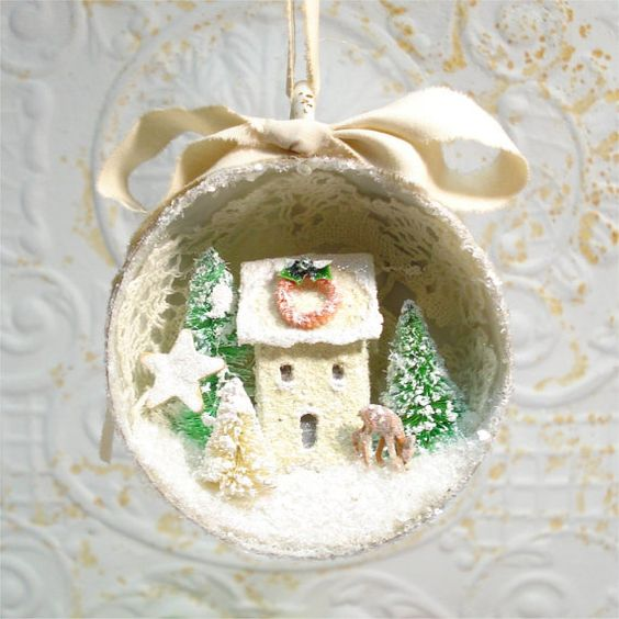 Tea Cup Ornament Putz House Green Bottlebrush by GumDropSugarShop SOLD