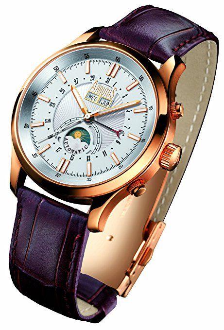 Arbutus AR404RWF - Reloj analógico automático para hombre con correa de piel, color marrón-PREFERIDO-
