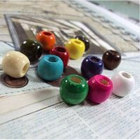 200PCS Wood Beads Wooden Beads Colorful Round Smooth Beads for Handmade Necklace and Earring