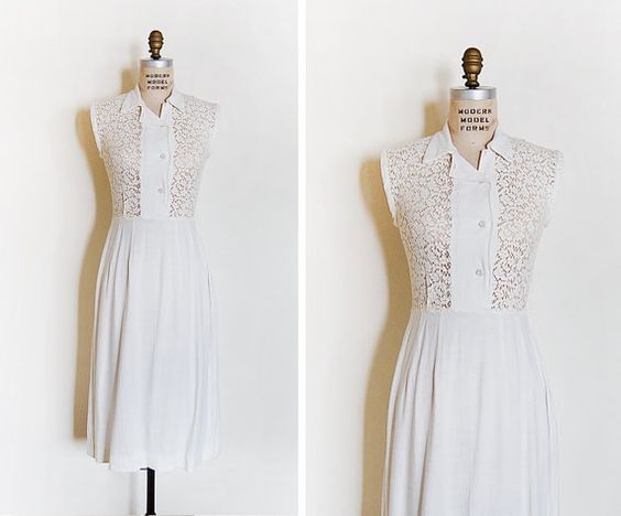 vintage 1960s dress / cotton lace dress / 1960s lace by cutxpaste, $54.00