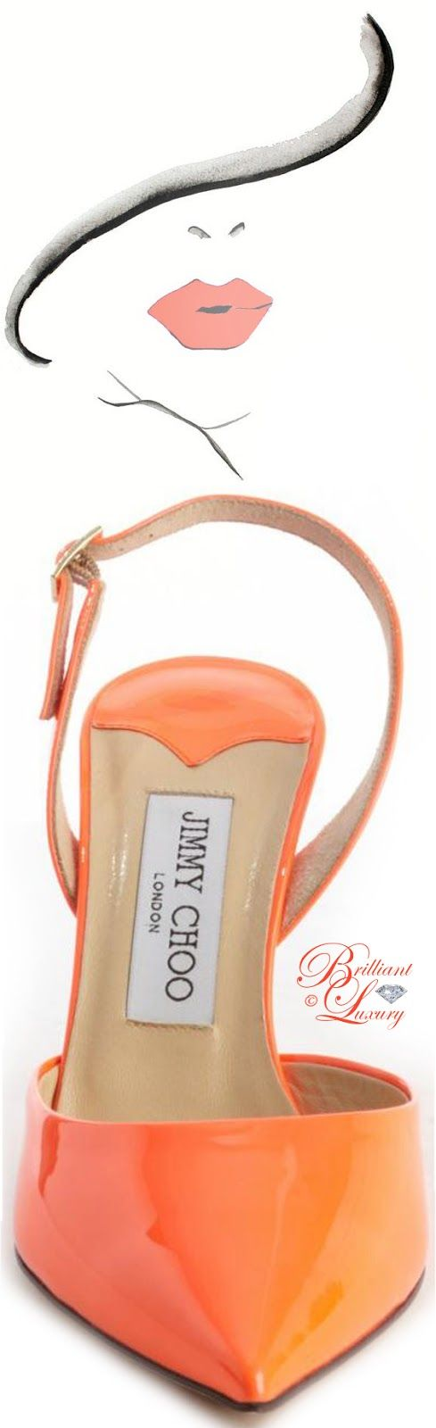 Brilliant Luxury by Emmy DE ♦ Jimmy Choo Neon Flame Leather Pointed Toe Slingback 'Tilly' Pumps