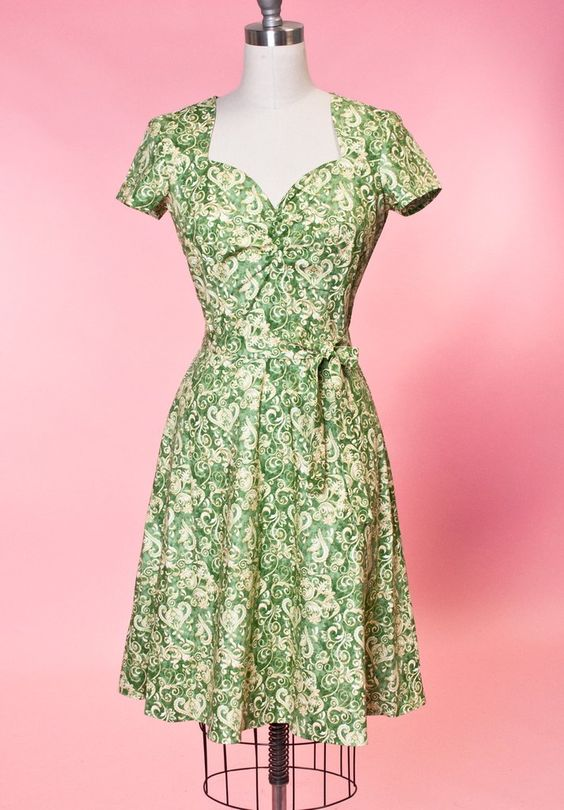 Aimee Dress - Scroll Green  by Heart of Haute