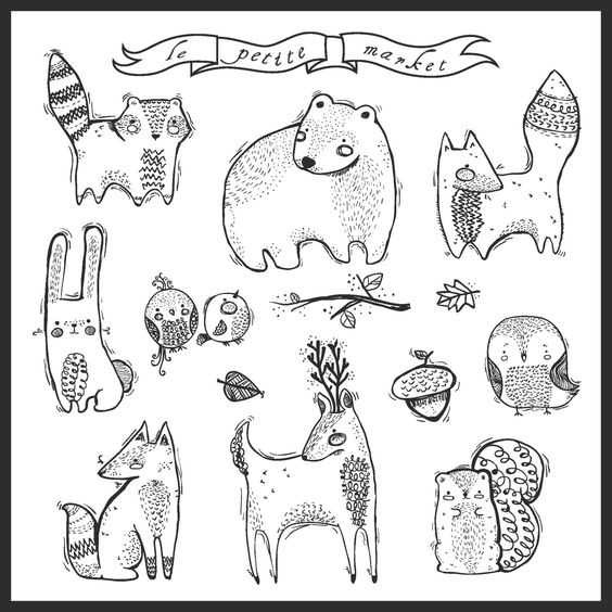 Cute Hand-Drawn Digital Forest Creatures Clipart by LePetiteMarket