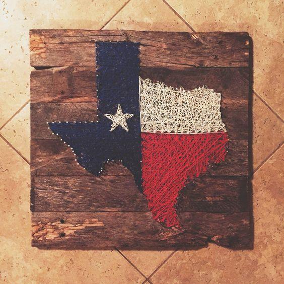 Wood pallet nail string art Texas flag