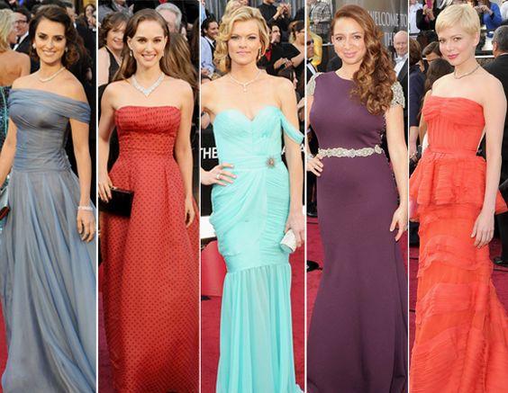 Looks coloridos no Oscar 2012
