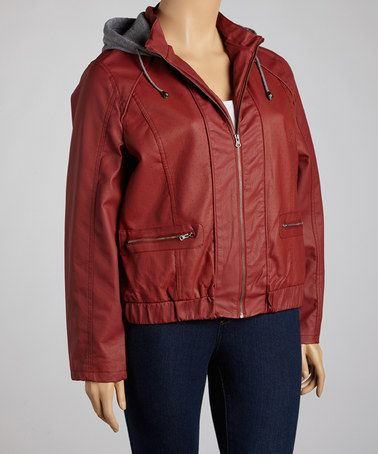 Take a look at this Red Hooded Faux Leather Jacket - Plus by Beverly Hills Polo Club on #zulily today!